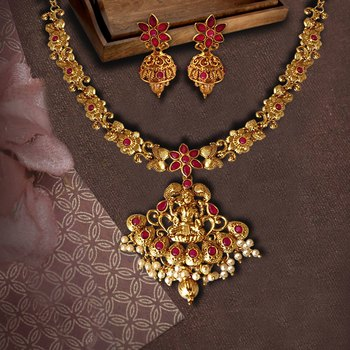 Flower Shape Laxmi Temple Zinc Necklace Ruby Colour Necklace Set