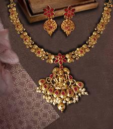 Flower Shape Laxmi Temple Zinc Necklace Ruby Colour Necklace Set