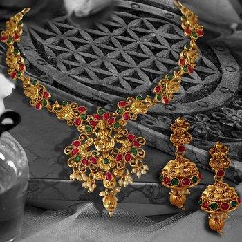 Peacock Shape Temple ZINC Necklace