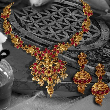 Peacock Designed Temple ZINC Necklace