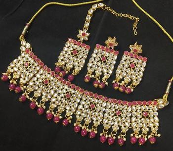 Ruby Pink Kundan Pearl Choker Jewelry Set