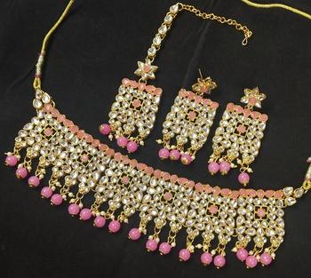 Peech Pink Kundan Pearl Choker Jewelry Set