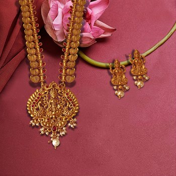 Long Necklace Chain with Oval Shaped Pendant with Laxmi Ji and Two Peacock in Matte Golden Ruby Colour
