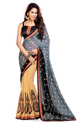 Beige and Grey Embroidered jacquard saree with blouse