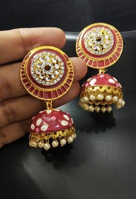 Charming Jewelry Red Pink CZ Kundan Pearl Meenakari Jhumki Earings Set