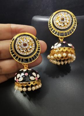 Charming Jewelry Black Pink CZ Kundan Pearl Meenakari Jhumki Earings Set