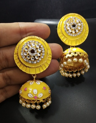 Charming Jewelry Yellow Pink CZ Kundan Pearl Meenakari Jhumki Earings Set