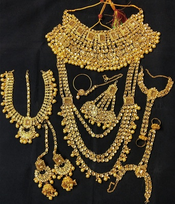 Charming Jewelry Designer WhiteGolden CZ Pearl Kundan Full Bridal Jewelry Set
