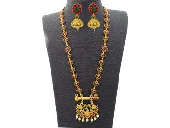 Kemp Designer Peacock Ruby Green Long Necklace Set