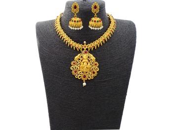 Kemp Designer Laxmi ji Elephant Ruby Green Round Necklace Set