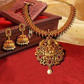 Kemp Designer Laxmi ji Elephant Ruby Round Necklace Set