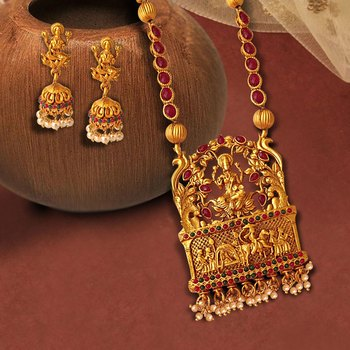 Kemp Designer Temple Laxmi Ji Doli Style Ruby Green High Gold Plated Long Necklace Jewellery Set