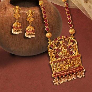 Alloy, Metal Jewel Set (Red, Gold)