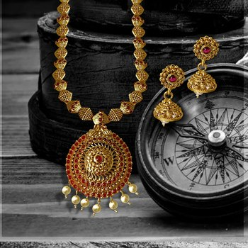 Kemp Designer Temple High Gold Plated Round Shaped Mala Beads Ruby Long Necklace Set Jewellery