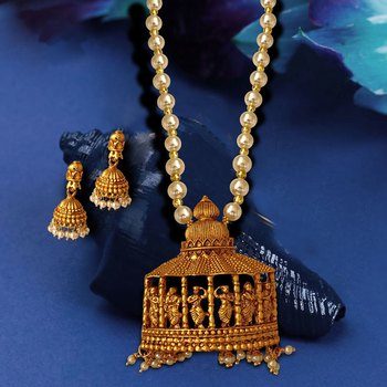 Matte Gold Finish Temple Dancing Women with Silver Pearl Moti Chain Jewellery Imitation Necklace Set