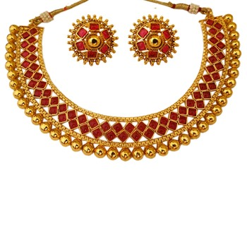 OyeKudiye U Shape Ruby Moti Pearl Colour Squared Shaped Copper Necklace Jewelry with Matching Earring Set