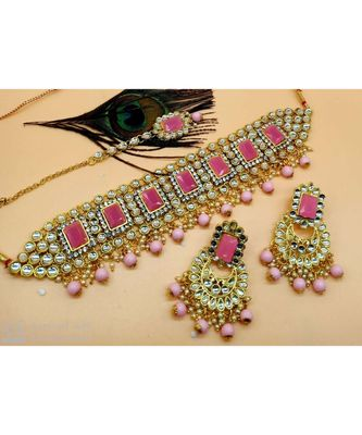 Ethinc Indian Bollywood Pink Kundan Pearl Choker Jewelry Set