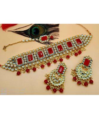 Ethinc Indian Bollywood Red Kundan Pearl Choker Jewelry Set