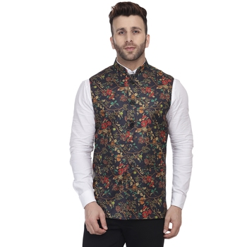 Blue Printed Jute Nehru Jacket