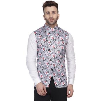 Grey printed satin nehru-jacket