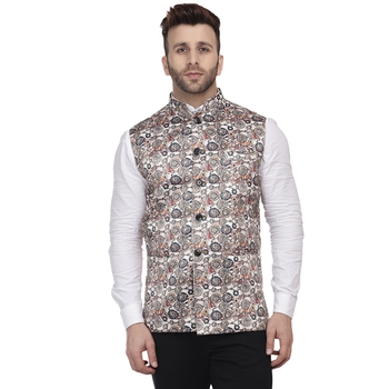 Beige Printed Pure Cotton Knitted Stretch Nehru Jacket