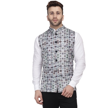 White printed pure cotton knitted stretch nehru-jacket