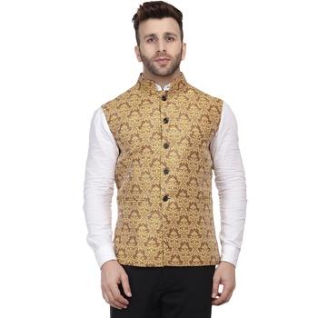 Gold Printed Jacquard Nehru Jacket