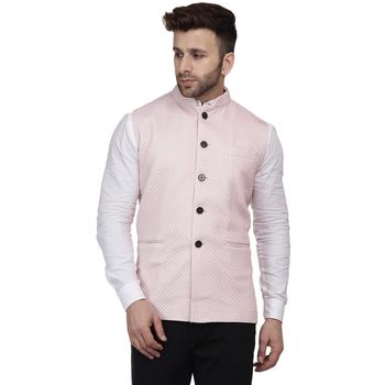 Pink plain pure cotton knitted stretch nehru-jacket
