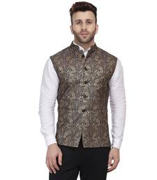 Black Printed Jacquard Nehru Jacket
