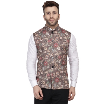 Brown Printed Pure Cotton Knitted Stretch Nehru Jacket