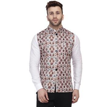 Beige printed pure cotton knitted stretch nehru-jacket