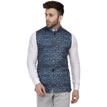 Blue Printed Pure Cotton Knitted Stretch Nehru Jacket
