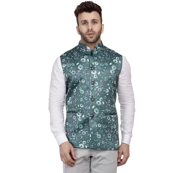 Green Printed Satin Nehru Jacket