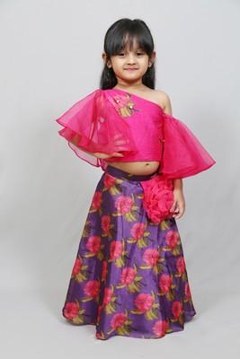 ruffled sleeves top with printed skirt