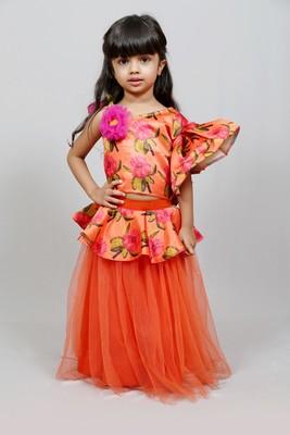 one shoulder frilled printed top with plain orrange net skirt