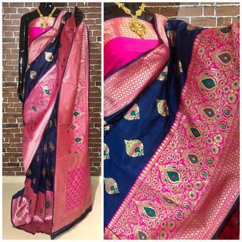 Blue and Pink Color Banarasi Silk Saree