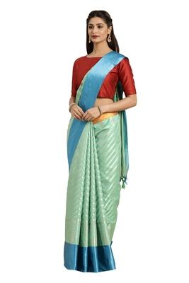 Sea green woven katan silk saree with blouse