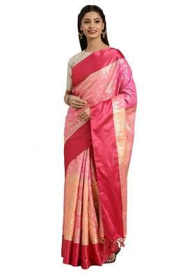 Peach woven katan silk saree with blouse