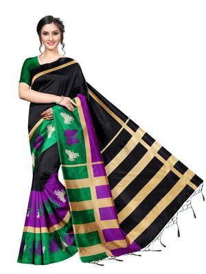 Black printed art silk saree with blouse