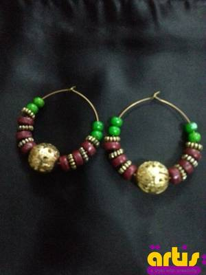 Hoops with Wooden Beads