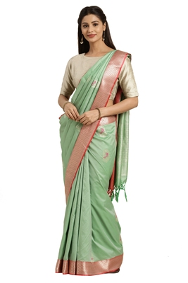 Sea green woven katan silk saree with blouse
