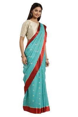 Turquoise woven katan silk saree with blouse