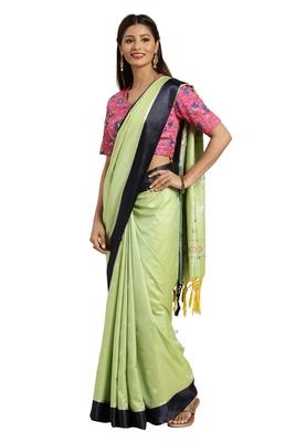 Light green woven katan silk saree with blouse