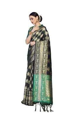Black woven faux banarasi silk saree with blouse