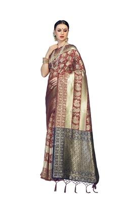 Maroon woven faux banarasi silk saree with blouse