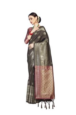 Coffee woven faux banarasi silk saree with blouse