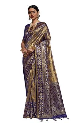 Blue woven faux kanjivaram silk saree with blouse