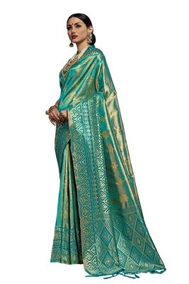 Teal woven faux kanjivaram silk saree with blouse