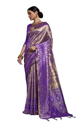 Purple woven faux kanjivaram silk saree with blouse