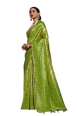 Green woven faux kanjivaram silk saree with blouse